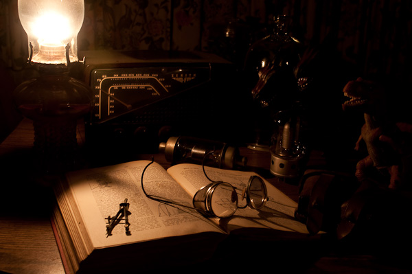 studying by kerosene lamp