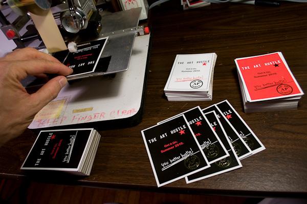 foil stamped the art hustle promo cards